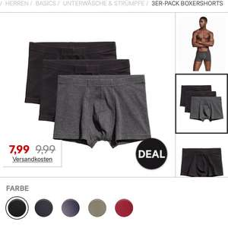 H&M 3er Boxershorts für 7,99€ (20% Ersparnis)