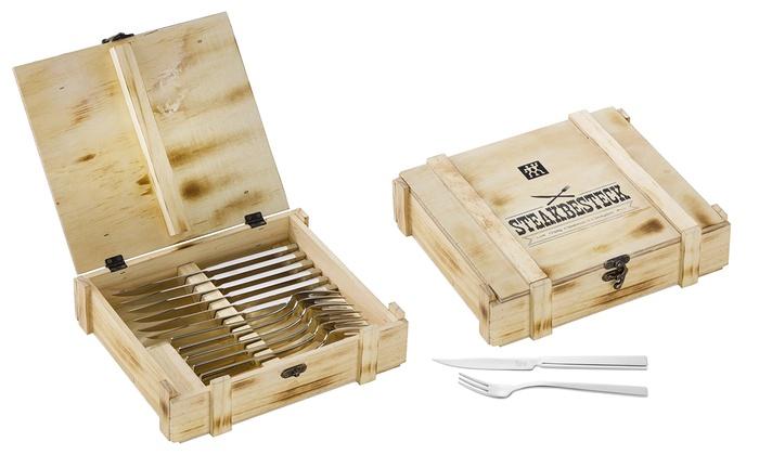 12-teiliges Zwilling Steakbesteckset aus Edelstahl in Holzkiste für 19,99 + 2,99 VSK