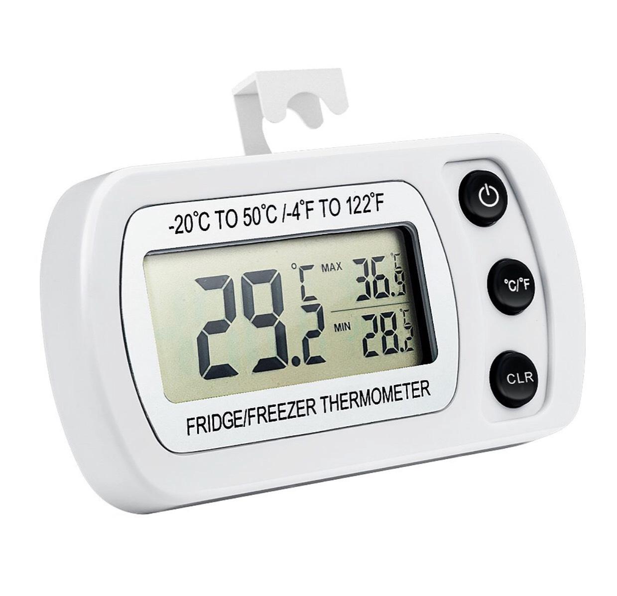 Oria Digital Kühlschrank Thermometer Wasserdicht Gefrierschrank Thermometer freezer thermometer mit Haken Leicht zu LCD-Display Lesen, Max/Min Funktion Perfekt für Wohnhaus, Restaurants, Bars, Cafes, Eisschrank, etc.