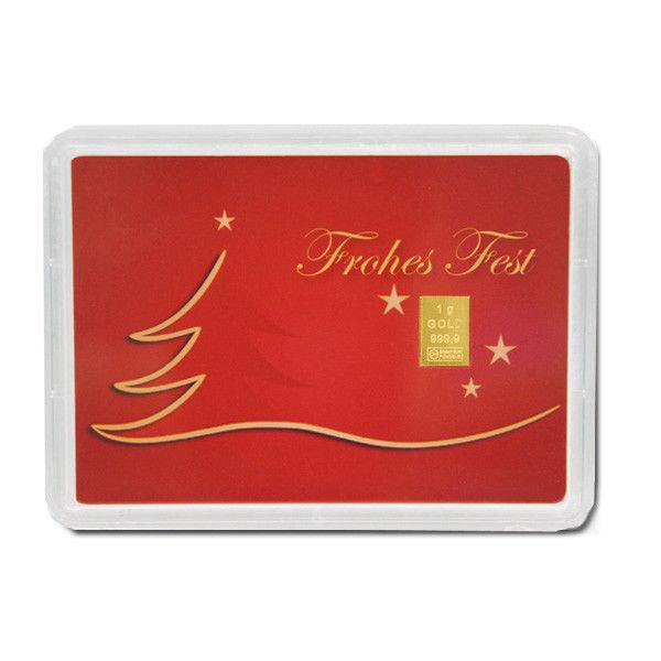 Goldbarren in Weihnachts-Verpackung 1g rechtzeitig zum Fest