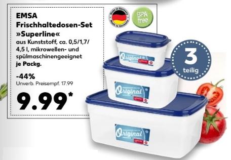 Emsa Frischhaltedosen-Set Superline, 3-teilig, Extra softer Deckel, Eckig, 0,5/1,7/4,5 L für 9,99 € @  [Kaufland ab 07.12]