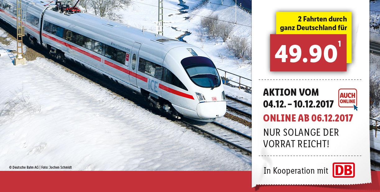 Lidl DB Ticket Bahn Gutschein 2 einfache Fahrten in den Zügen der DB Fernverkehr AG