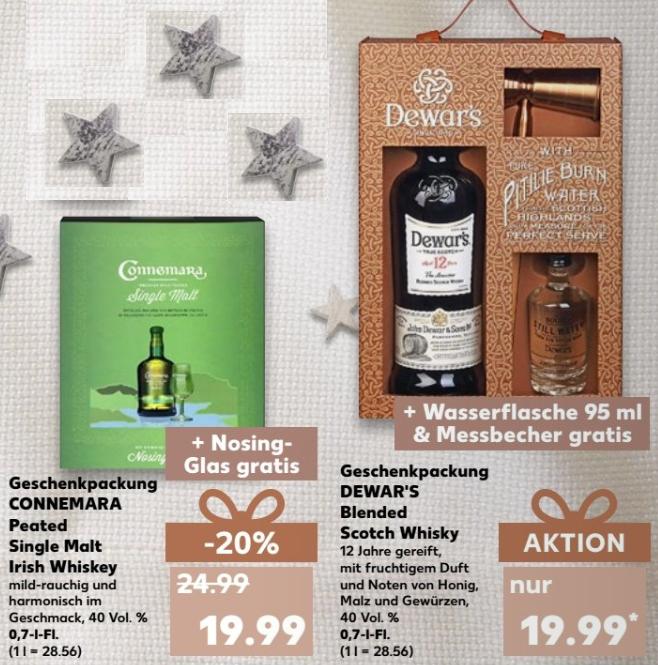 Irish Whiskey vs. Scotch Whisky - CONNEMARA vs. DEWAR`S - jeweils 0,7l -Flasche in Geschenkpackung für 19,99 € @  [Kaufland bundesweit ab 07.12]