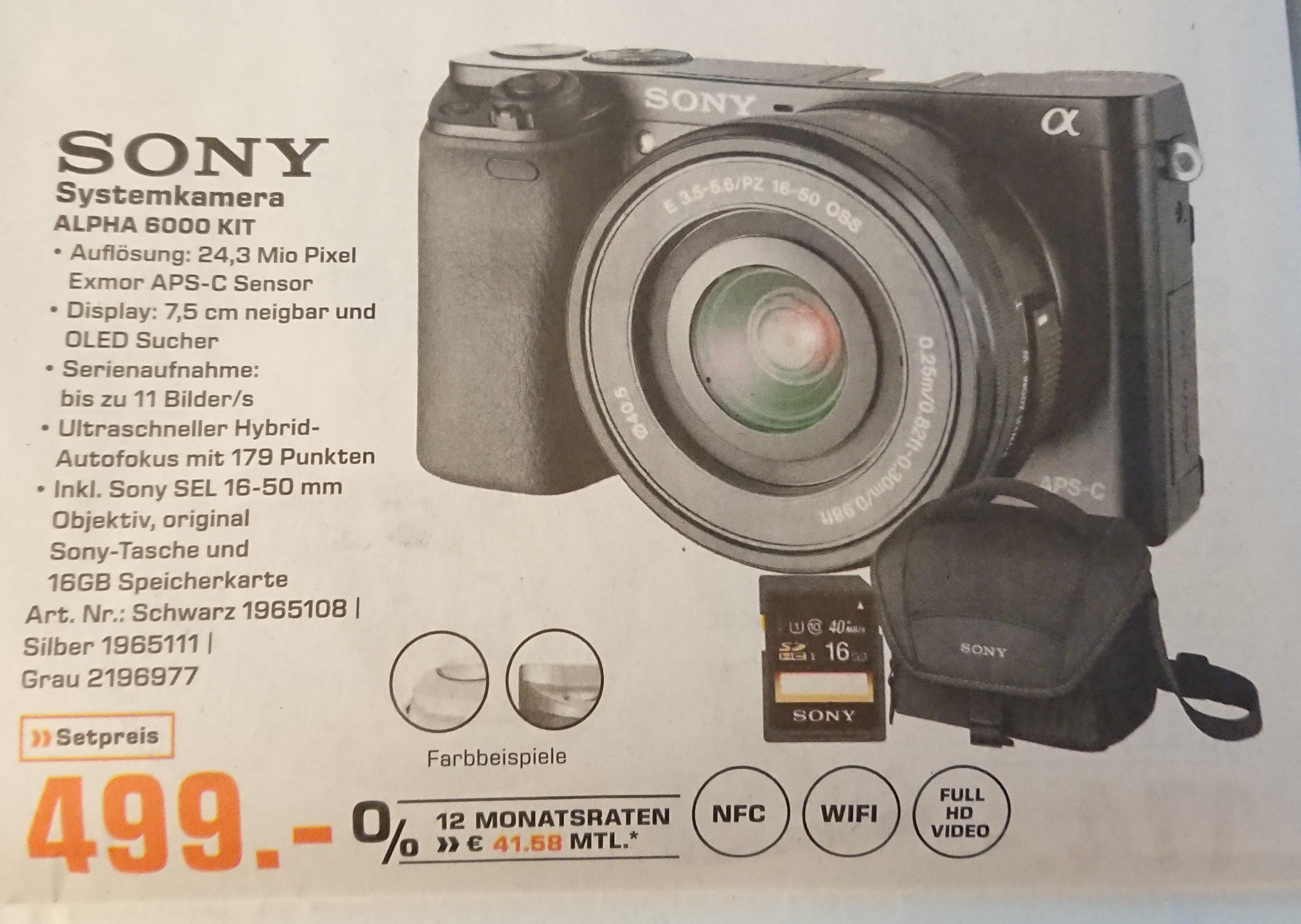 [Lokal München] Sony Alpha 6000 Kit inkl. SDHC-Karte 16Gb und Tasche bei Saturn