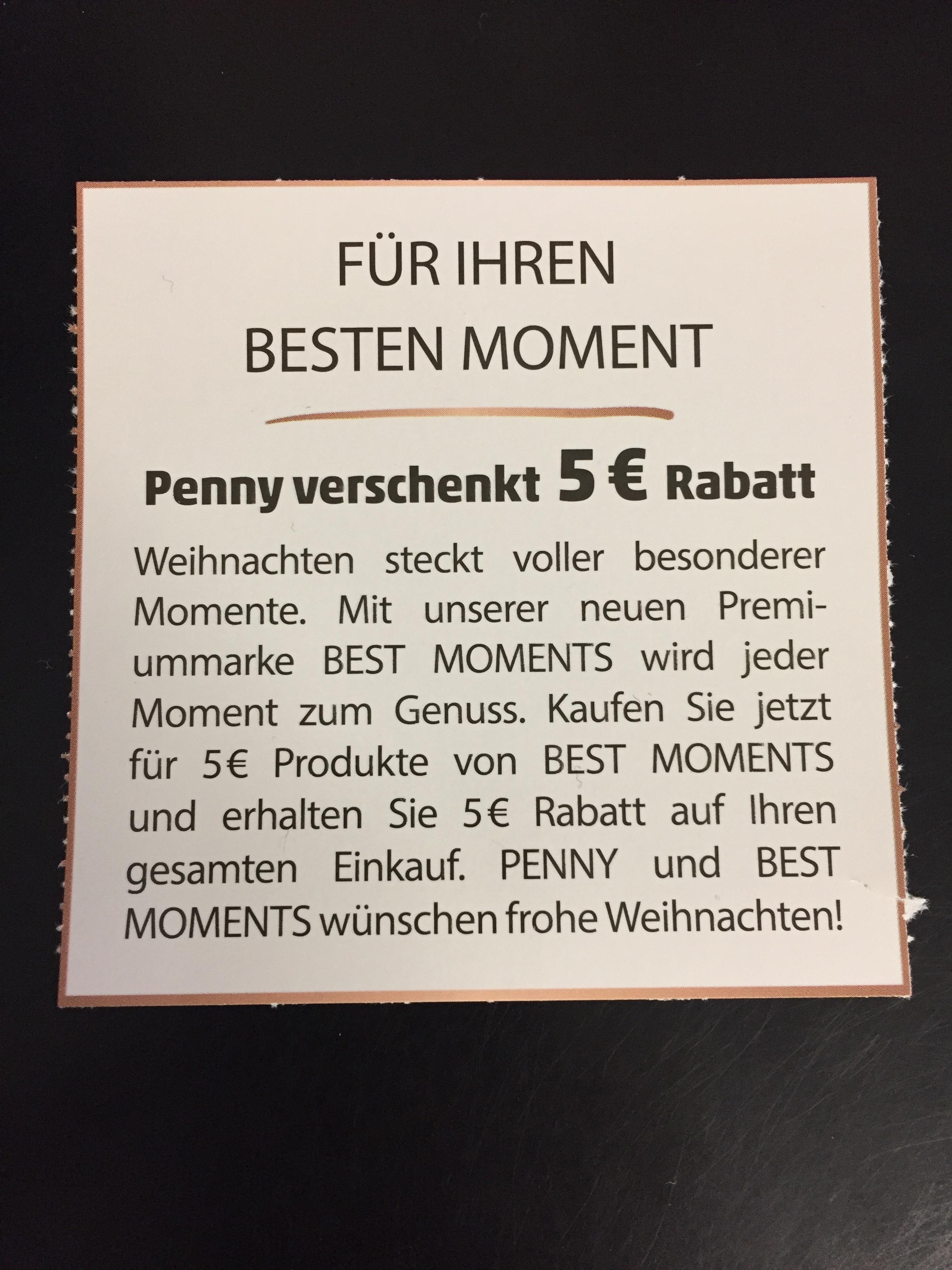 [PENNY] 5€ Gutschein bei 5€ MEW für BEST MOMENTS Produkte / Freebies möglich