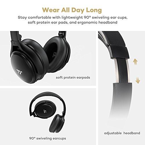[Amazon prime] TaoTronics Noise Cancelling Kopfhörer Bluetooth Kopfhörer Over Ear mit aktiver Rauschunterdrückung 25 Stunden Laufzeit, eingebautes Mikro CVC 6.0, duale 40 mm Tieftontöner, Faltbare Ohrhörer
