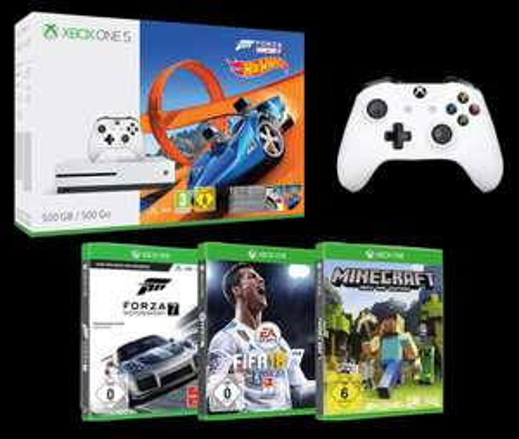 Xbox One S 500GB + 4 Spiele + 2ter Controller = 277 € bei Media Markt