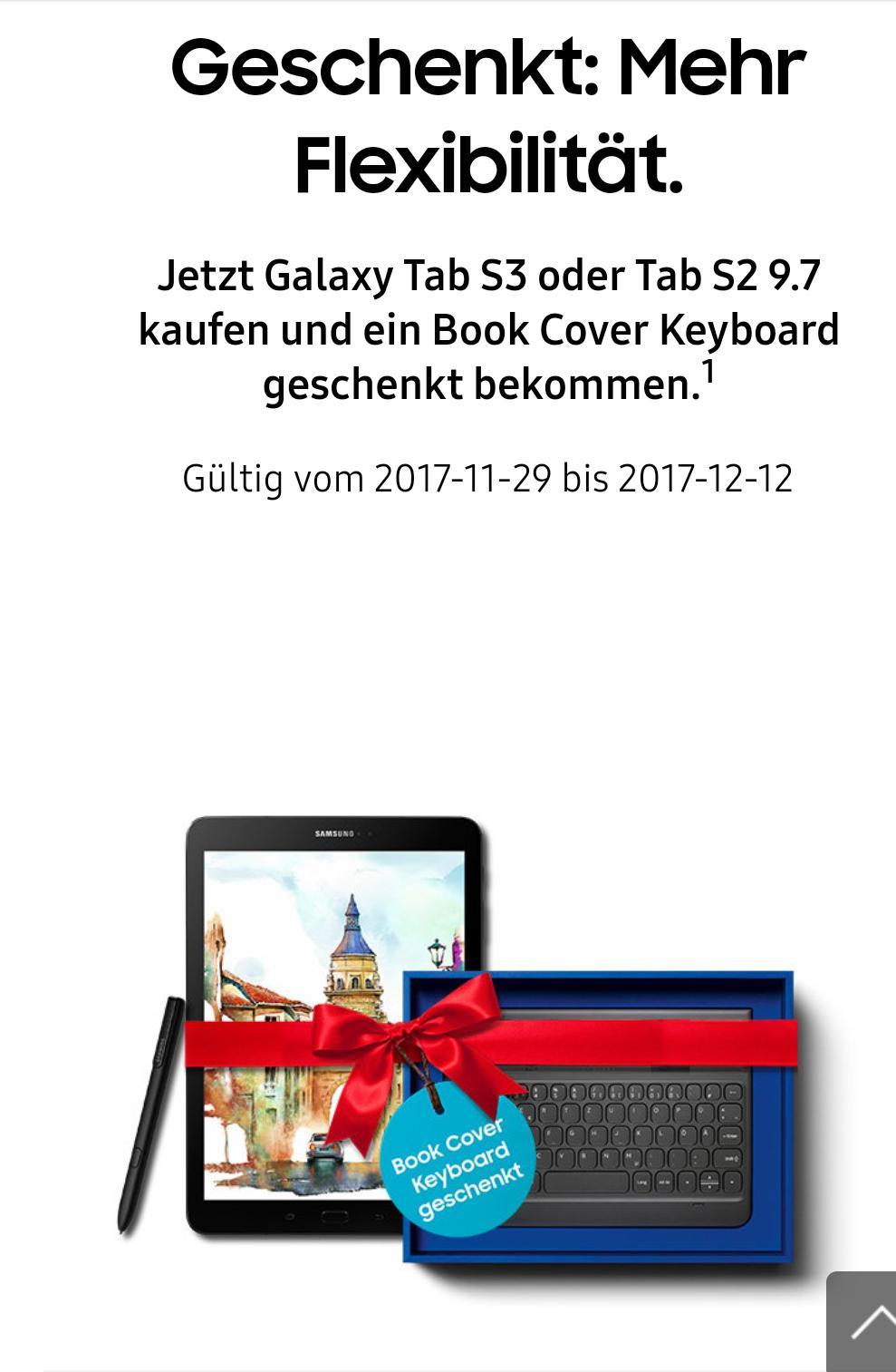 Samsung Galaxy Tab S2 oder S3 + 100€ MM-Gutschein Gutschein + Book Cover Keyboard gratis