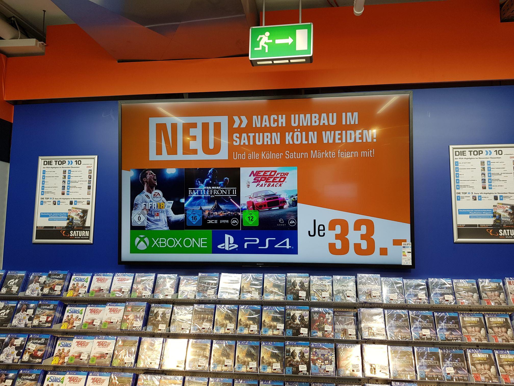 [Lokal Saturn Köln Weiden] Fifa 18, Star Wars Battlefront 2 und NFS:Payback für je 33 Euro