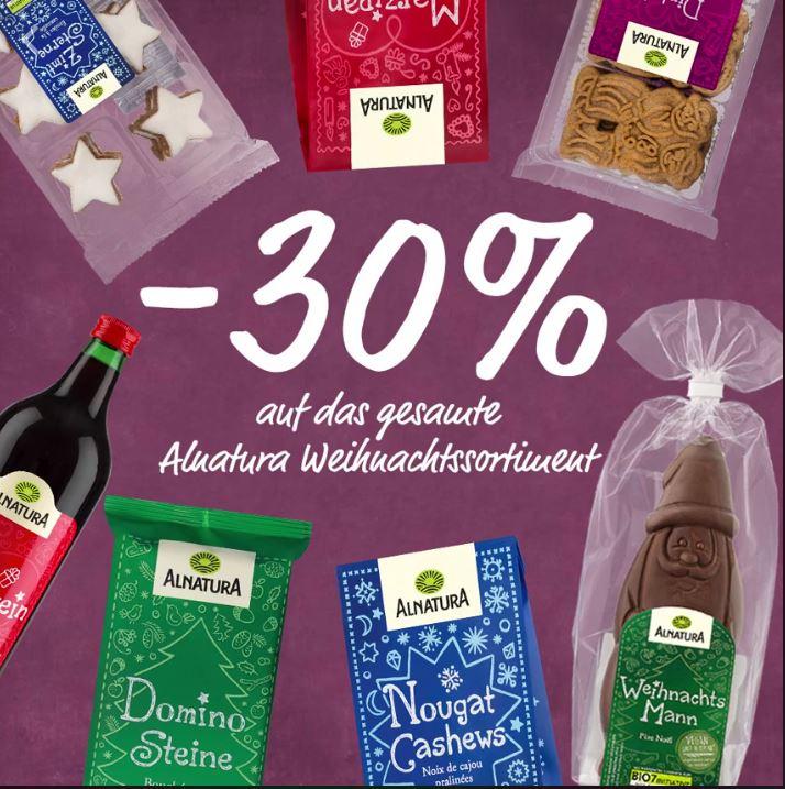 Bio Weinachtssortiment von Alnatura 30-37% Reduziert.