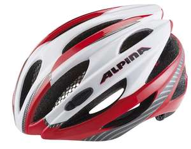 Alpina Cybric Fahrradhelm weiß-rot-carbon
