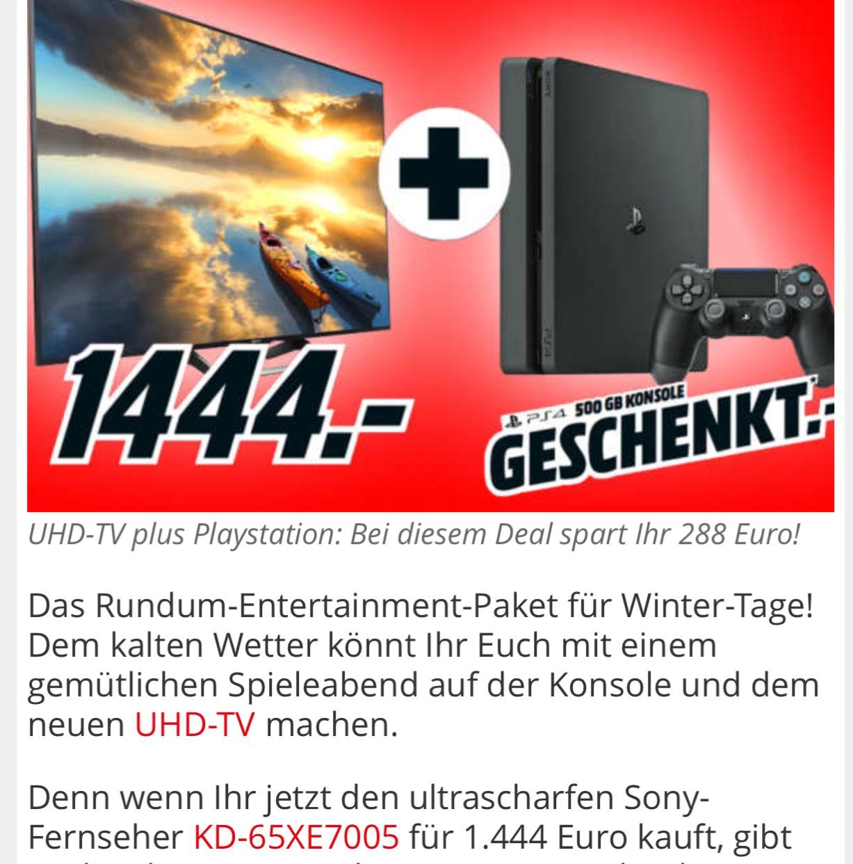 Media Markt- Sony 65 XE 7005+PS4 für 1