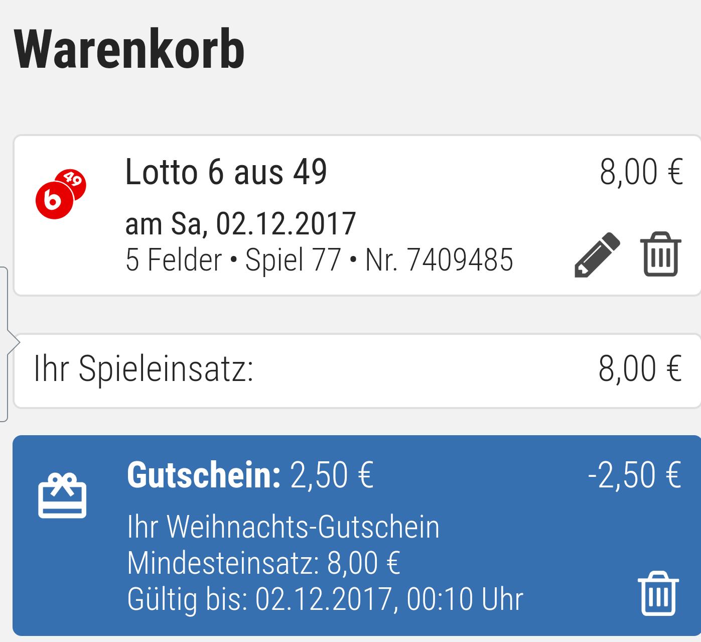 Tipp 24 2,5€ Gutschein bei 8,0€ Einsatz.