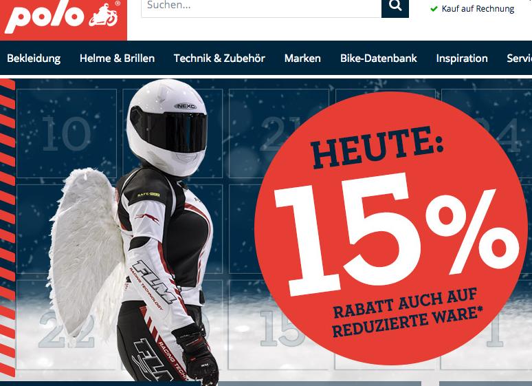 Polo Motorrad / Adventskalender / 15 Prozent auf alles (auch reduzierte Ware)