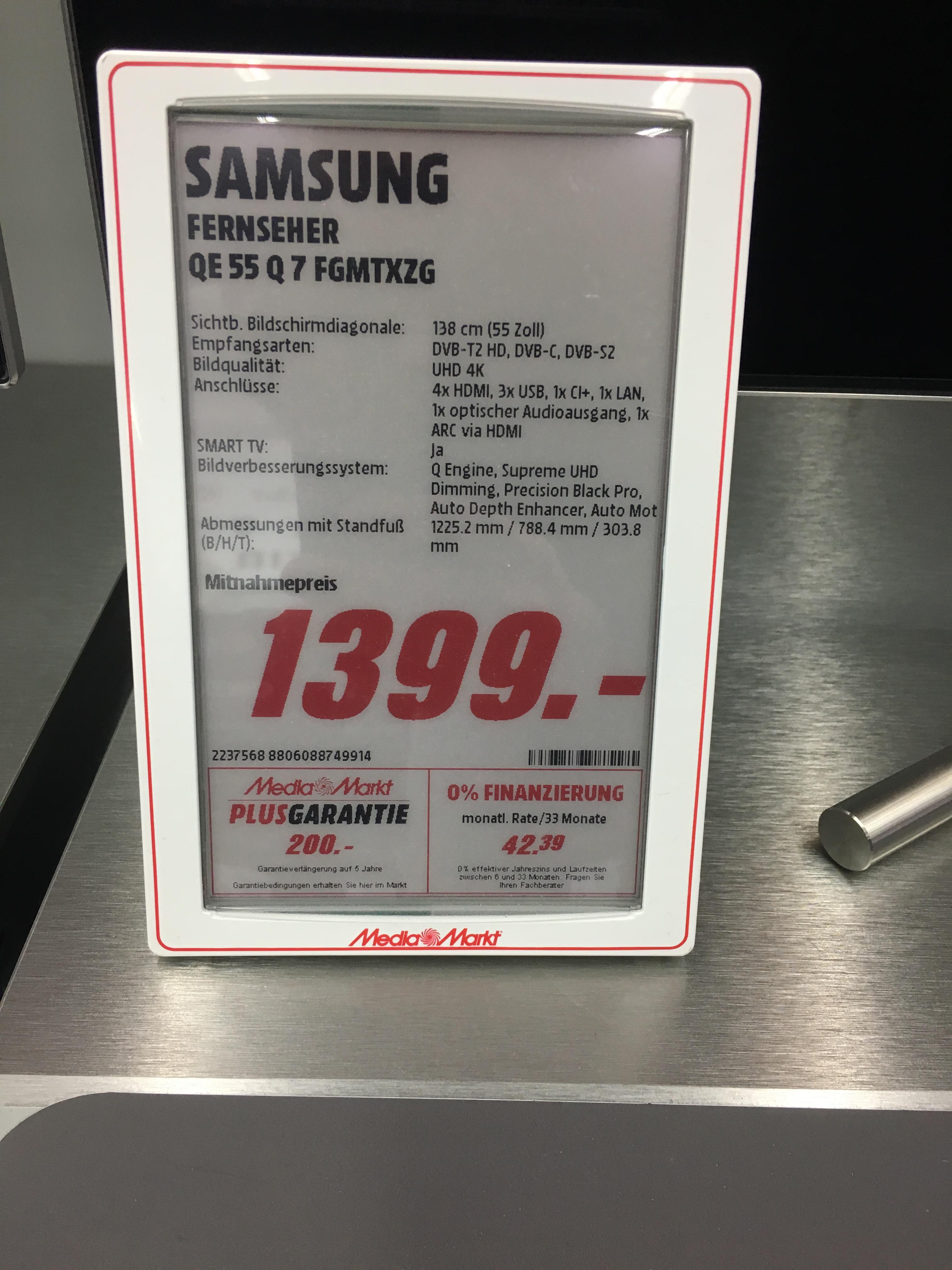 SAMSUNG QE 55 Q7F für 1399,-  plus Handy im Media Markt Elmshorn