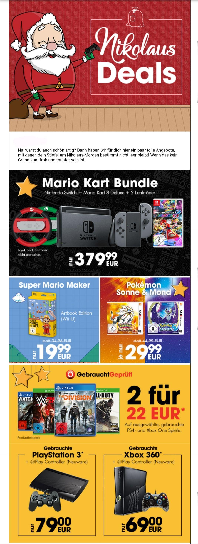 Gamestop Nikolaus Deals: Mario Kart Nintendo Switch Bundle 379,99€ / Pokèmon Sonne & Mond 3DS 29,99€ / 2 gebrauchte ausgewählte PS4 & XB1 Games 22€ / gebrauchte PS3 & XB360 + Controller 69€