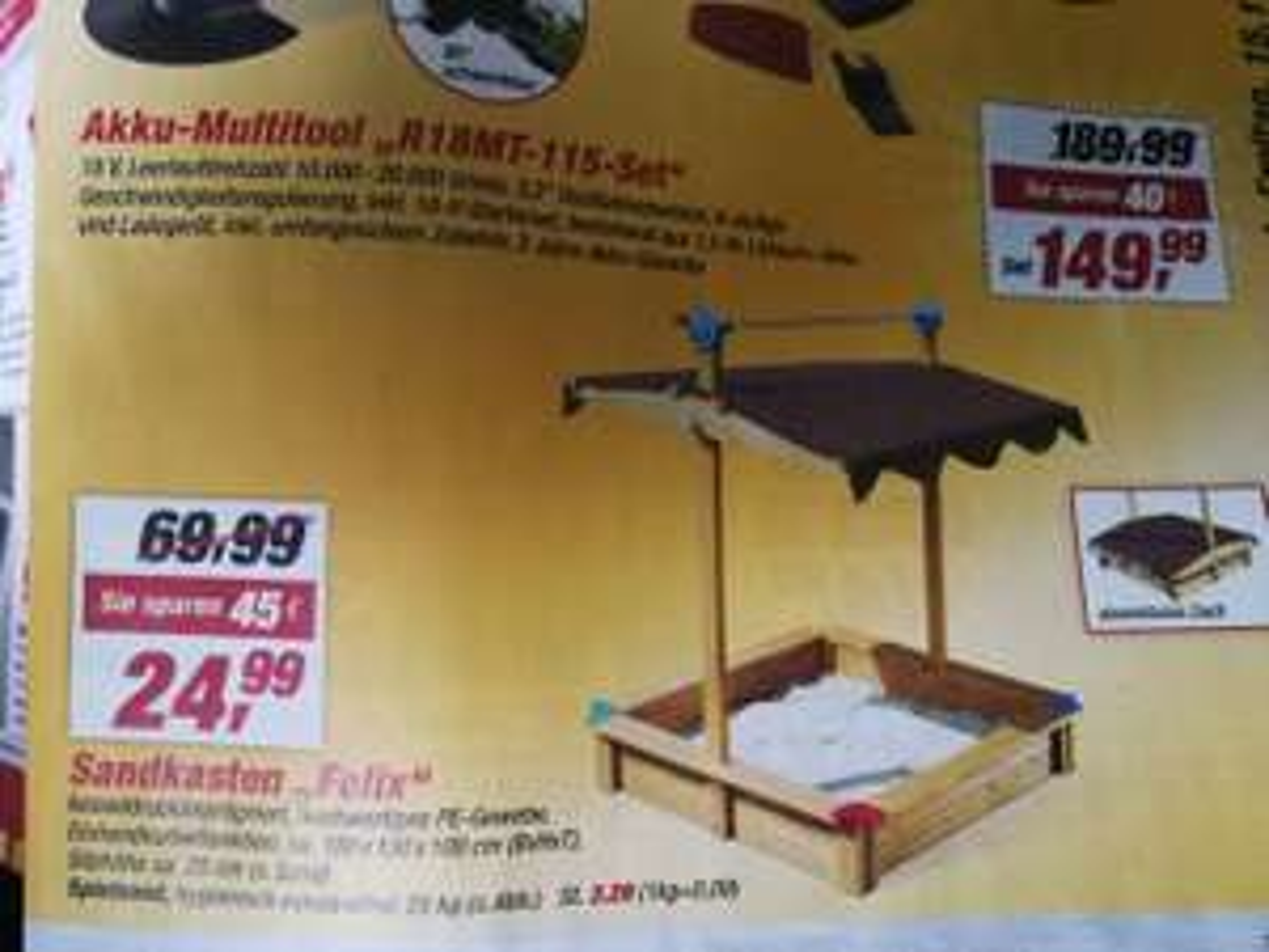 Sandkasten mit Dach zum absenken beim Toom Baumarkt ab Montag 11.12