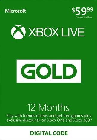 XBOX LIVE GOLD 12 Monate für 33,58€