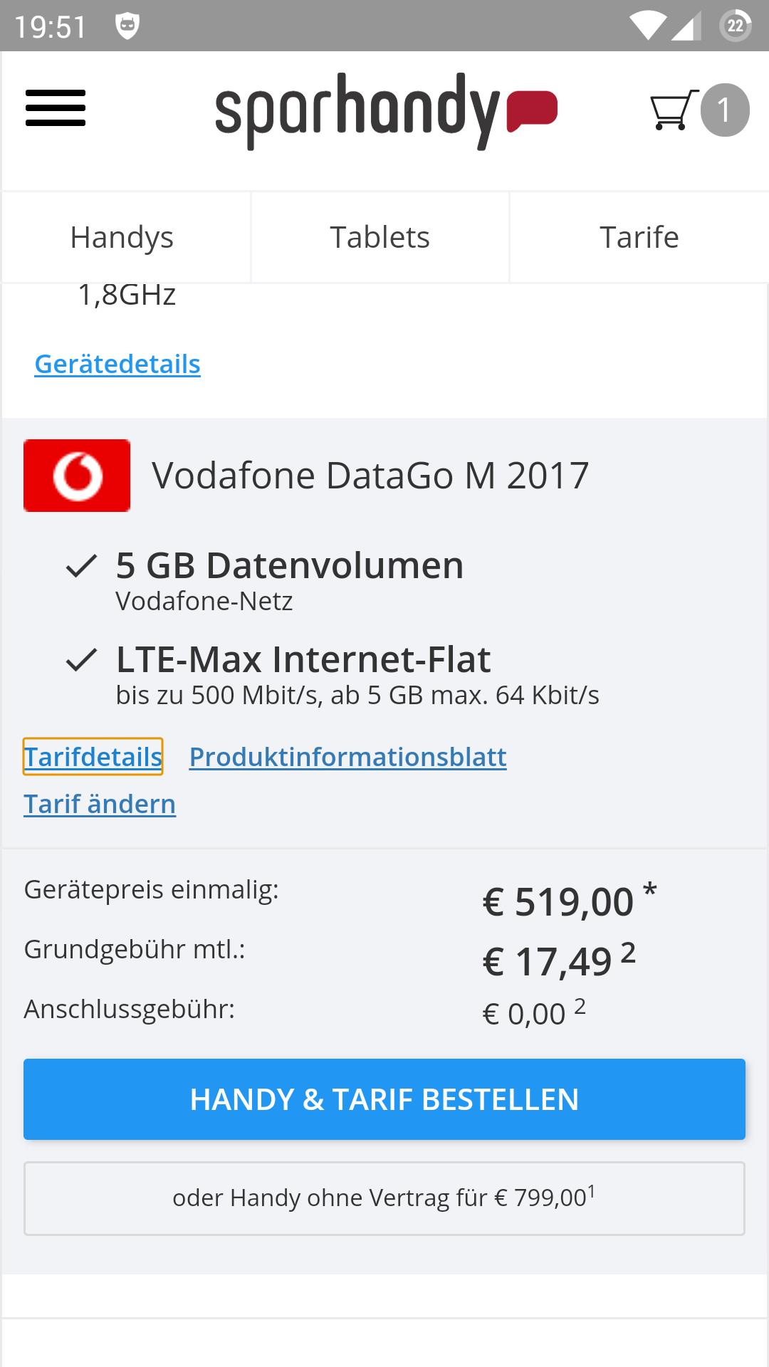 Huawei mate 10 pro mit Datentarif von Vodafone