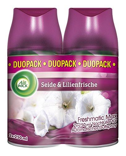 Air Wick Freshmatic Max Automatisches Duftspray Nachfüller, Seide & Lilienfrische, Duo-Pack (2x250ml) Plusprodukt oder Spar Abo