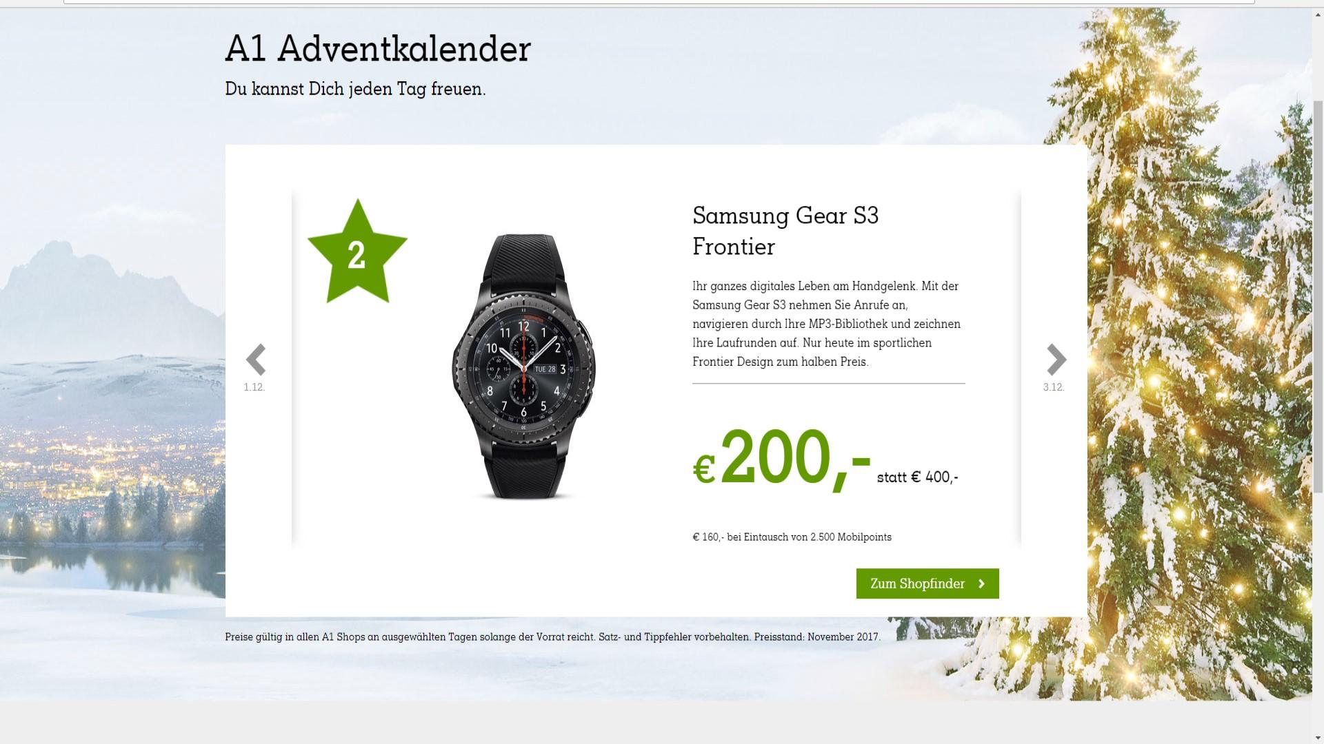 Gear S3 Frontier um 200€ nur im A1-Shop in Österreich