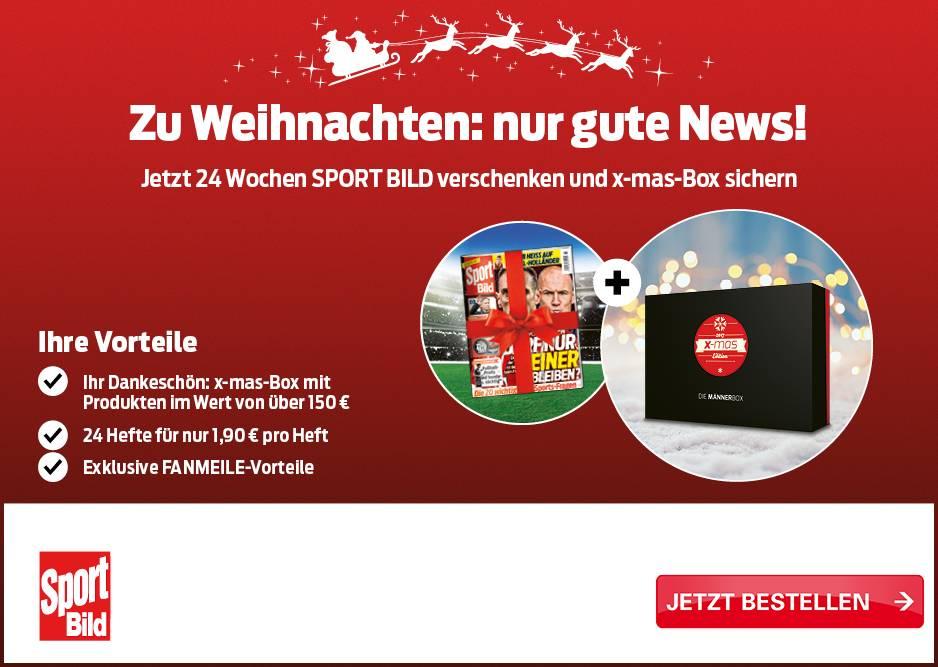 24 Wochen Sportbild für 1,90€/Heft + 150€-Xmas-Box