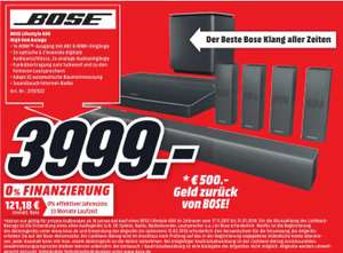 (MediaMarkt WOB) Bose Lifestyle 650 (+500€ Geld zurück bei Einsendung altes Audiogerät)