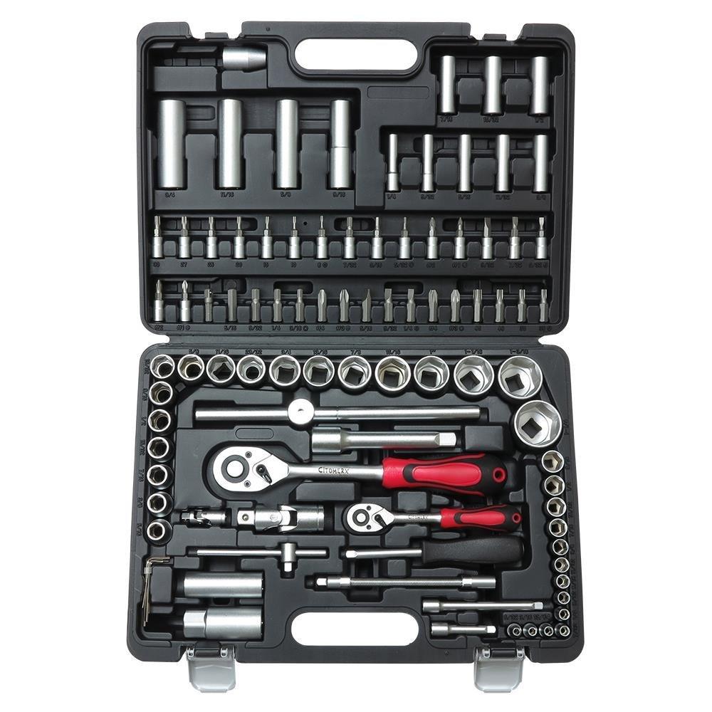 Eco Werkzeugkoffer 94-teilig | Steckschlüssel-Werkzeugsatz | Nußkasten Ratschen Set Torx