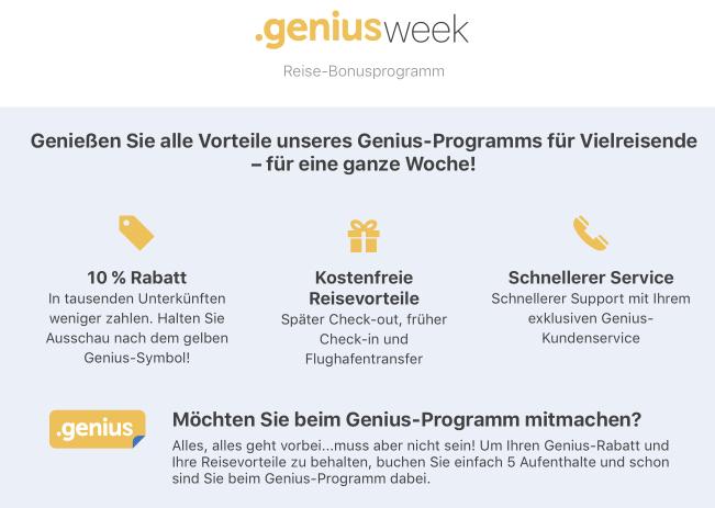 Genius Week bei Booking.com für alle