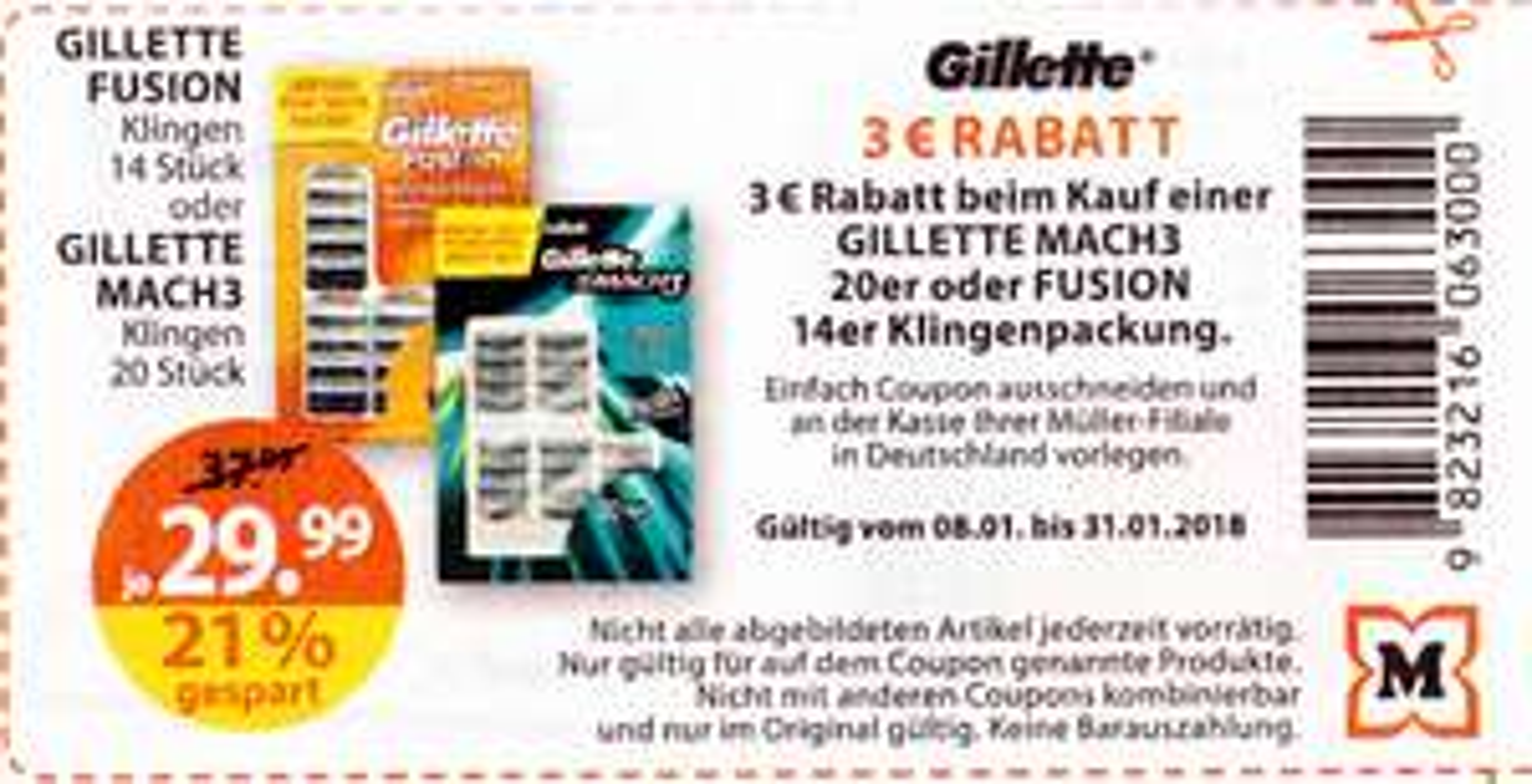 Rossmann / Müller - 3 Euro Coupon - Gillette MACH3 Rasierklingen 20er / Fusion 14er