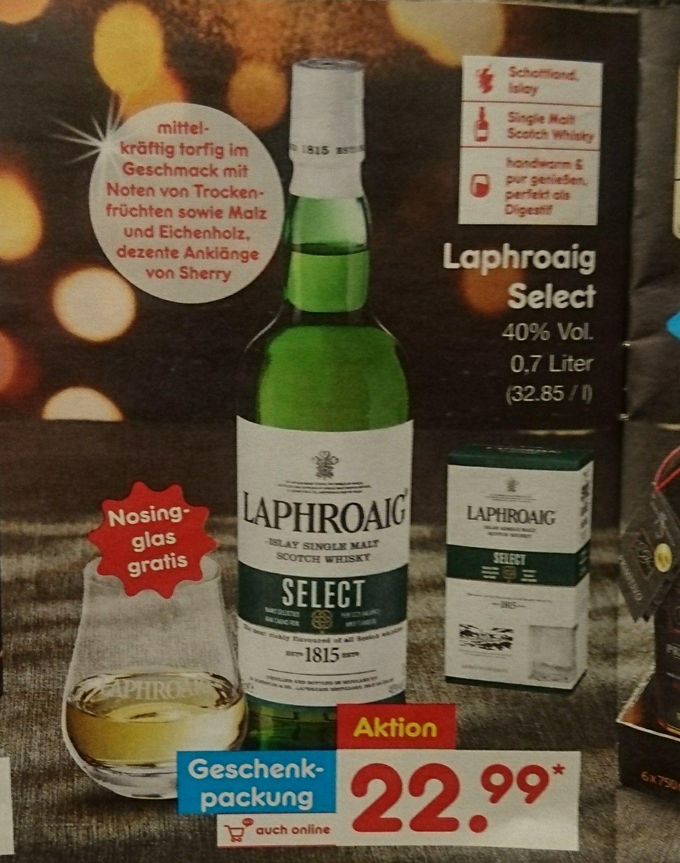 Und noch einer: Laphroaig Select Islay Single Malt Scotch Whisky Geschenkverpackung incl. Nosingglas ab 04.12.