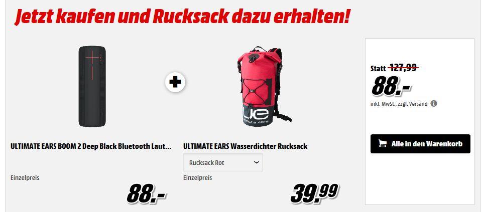 [Mediamarkt] ULTIMATE EARS BOOM 2 Deep Black Bluetooth Lautsprecher + ULTIMATE EARS Wasserdichter Rucksack für 88,-€