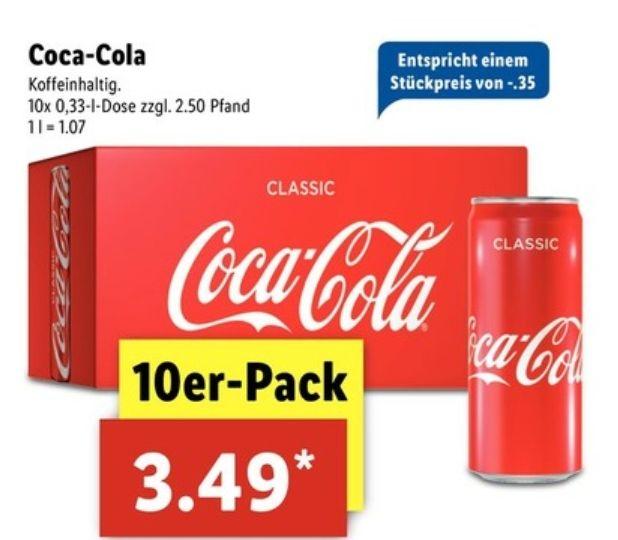 Coca-Cola Friendspack 10 Dosen 0,33l bei Lidl ab 07.12 bis 09.12