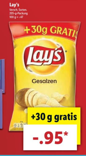 [LIDL] Lays Chip für 0,95 €/Packung (205 g)