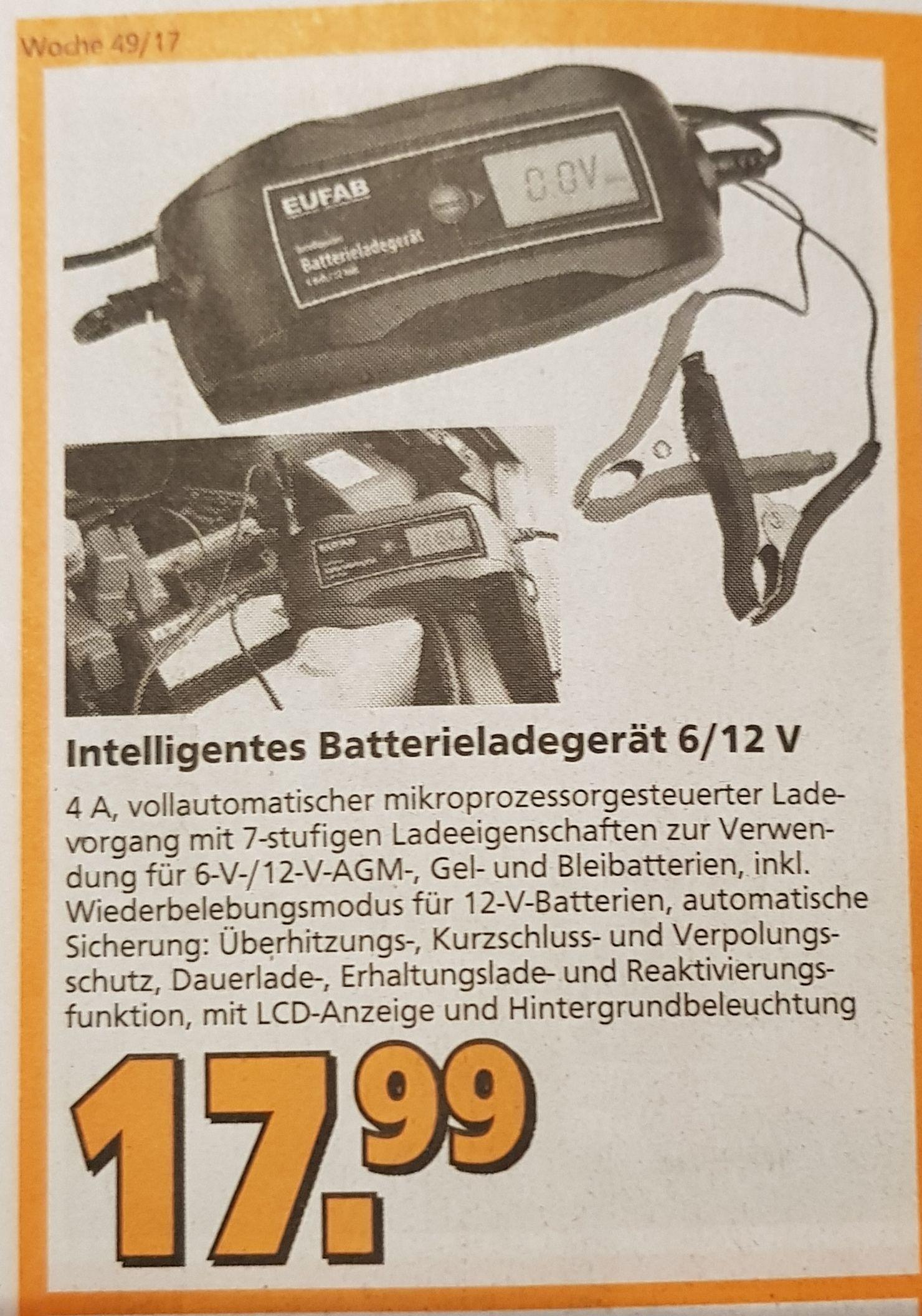 GLOBUS Baumarkt (lokal) EUFAB Batterieladegerät 16615 für Autobatterien (jetzt auch online: via ebay +4,90 VK)