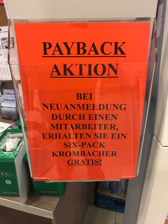 [PAYBACK] [REWE] [lokal Möhnesee] 6er-Pack / Six-Pack Krombacher GRATIS bei Neuanmeldung