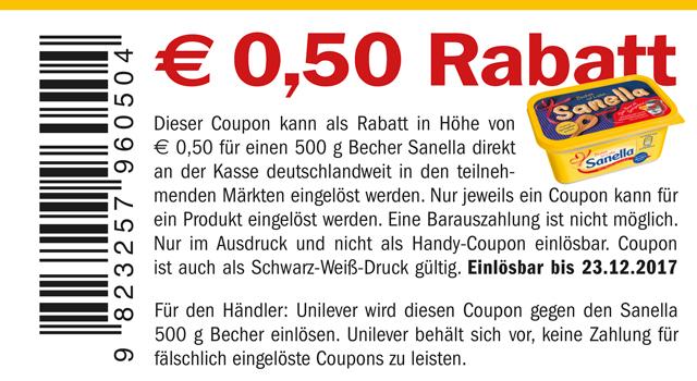 [Real] Einen Sanella 555g Becher für 0,99€ (-0,50€ Coupon = 0,49€)