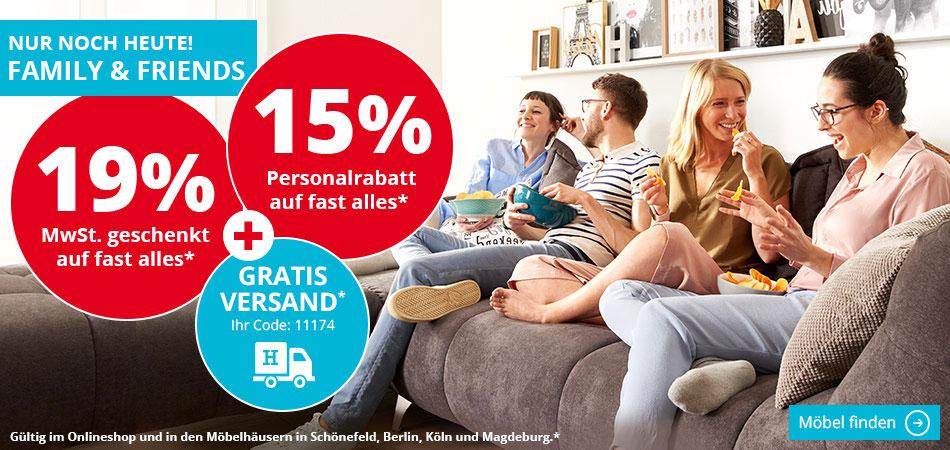 19% MwSt.+15% Rabatt auf fast alles+VSK frei mit Gutschein bei Möbel Höffner