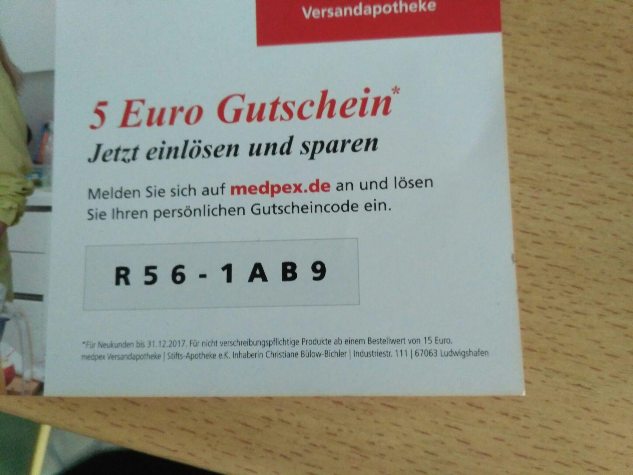 Medpex Gutschein 5€ zu verschenken. Neukunde, 15€ MBW