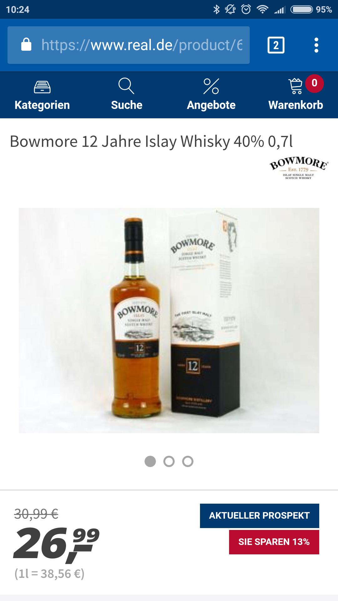[offline, lokal OWL] Bowmore 12 für 26,99 im real