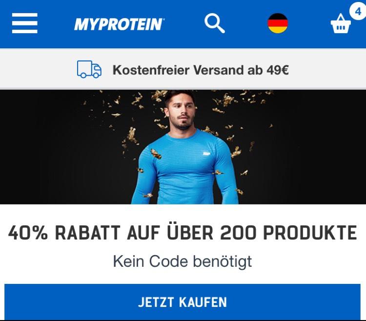 MyProtein 40% aus ausgewählte Produkte