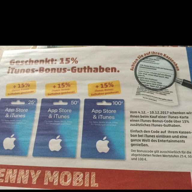 [Penny] 15% Extra Itunes Guthaben