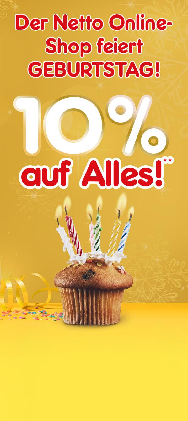 10% auf alles zum Geburtstag vom Netto Online-Shop, z.B. mit dem LG VRD 710 Roboter-Staubsauger für eff. 332€ statt 389€