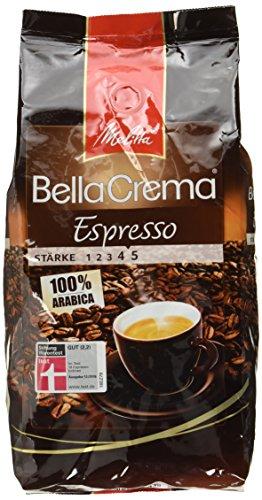 [Amazon Prime] Melitta Ganze Kaffeebohnen, 100 % Arabica, Stärke 4 bis 5, BellaCrema Espresso, 1000g