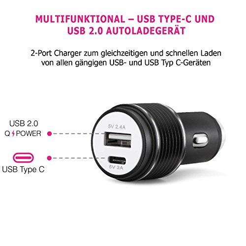 Auto Ladegerät USB C Power Mini 2-Port 24W 5V, 2-in-1 KFZ Ladegerät aus Alu @amazon 3.99€