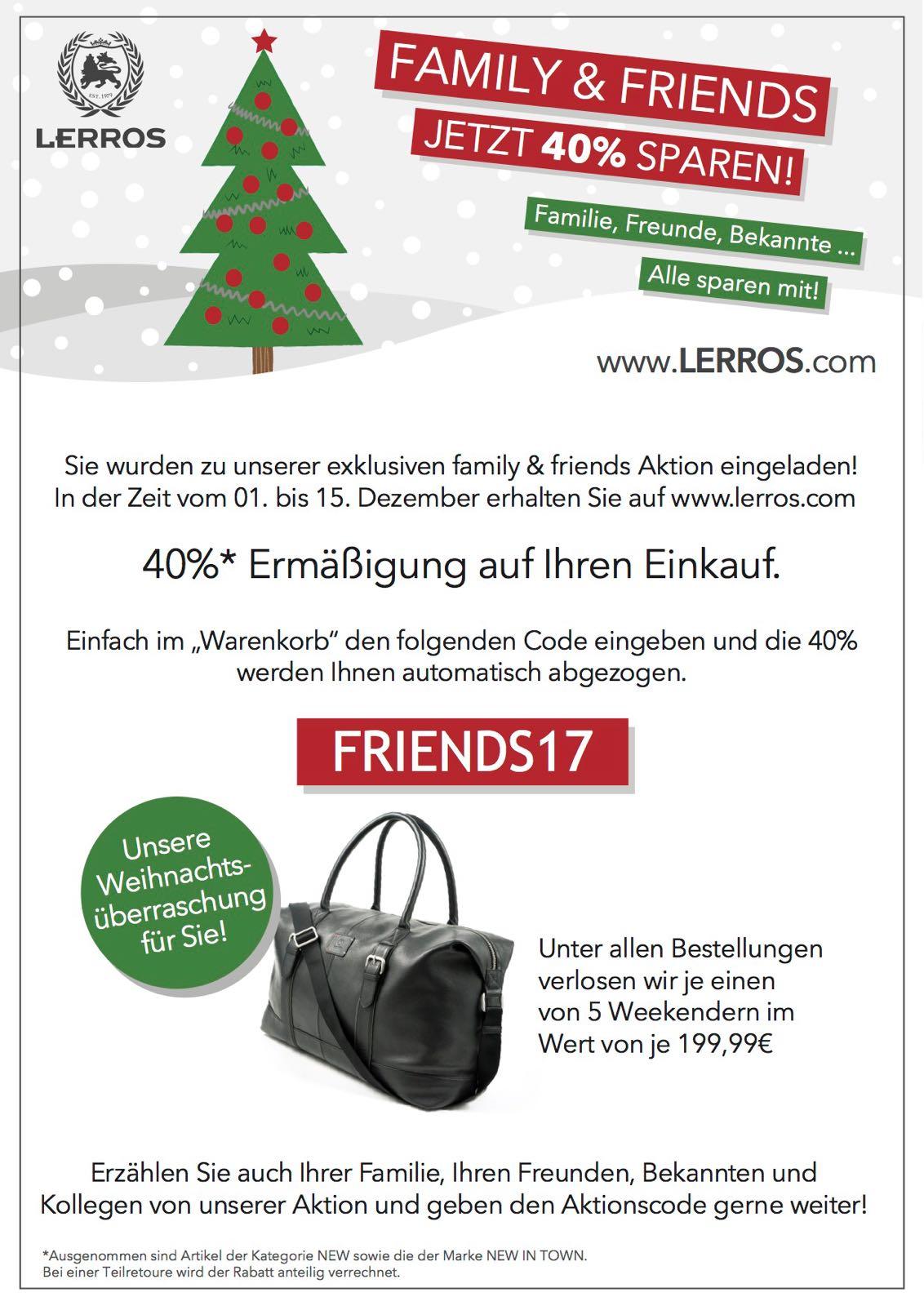 40 % Friends & Family Nachlass auf hochwertige Damen- und Herrenbekleidung auf www.lerros.com - 8% Cashback via QIPU nicht vergessen!