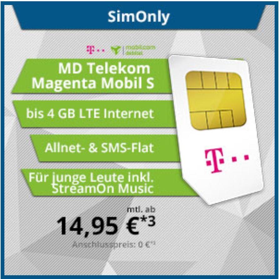 Mobilcom-Debitel - Telekom Magenta Mobil S Young - 14,95 € mtl. [Tophandy.de]