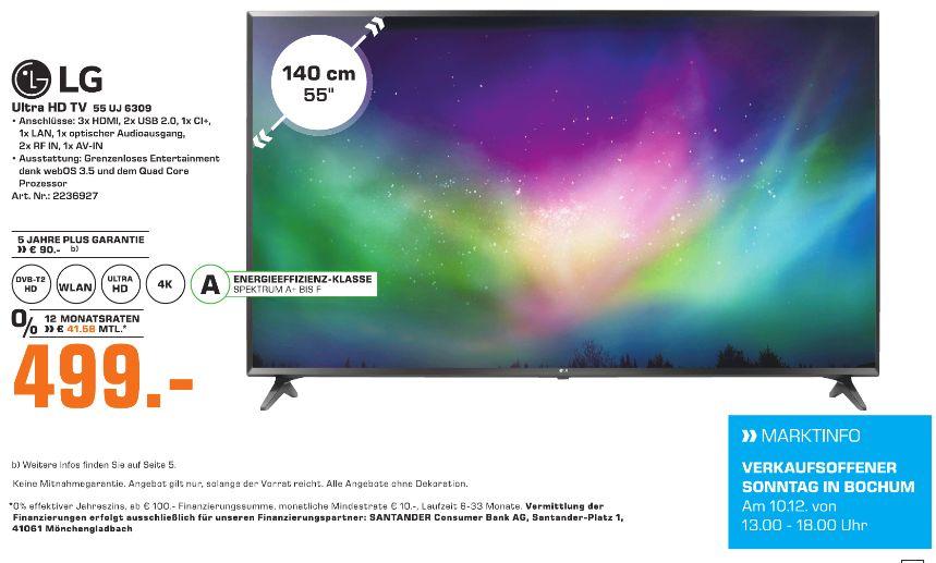 [Regional Saturn Bochum/Tagesangebot am 10.12] LG 55UJ6309 139 cm (55 Zoll) Fernseher (Ultra HD, Triple Tuner, Smart TV, Active HDR) für 499,-€