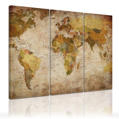 Weltkarte Kunstdruck 120x80cm 3teilig