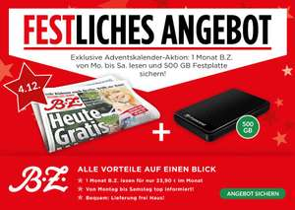 """[Lesershop24] Adventskalender Tag 4 -   1 Monat B.Z. mit  Transcend StoreJet 2.5"""" A3K, externe Festplatte mit 500 GB (PVG: 49€) für 29,90€"""